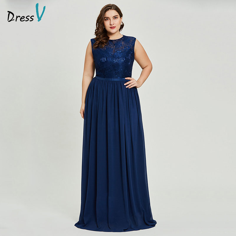 Dressv dark roal blue plus size evening dress elegant scoop neck sleeveless wedding party formal dress beading evening dresses