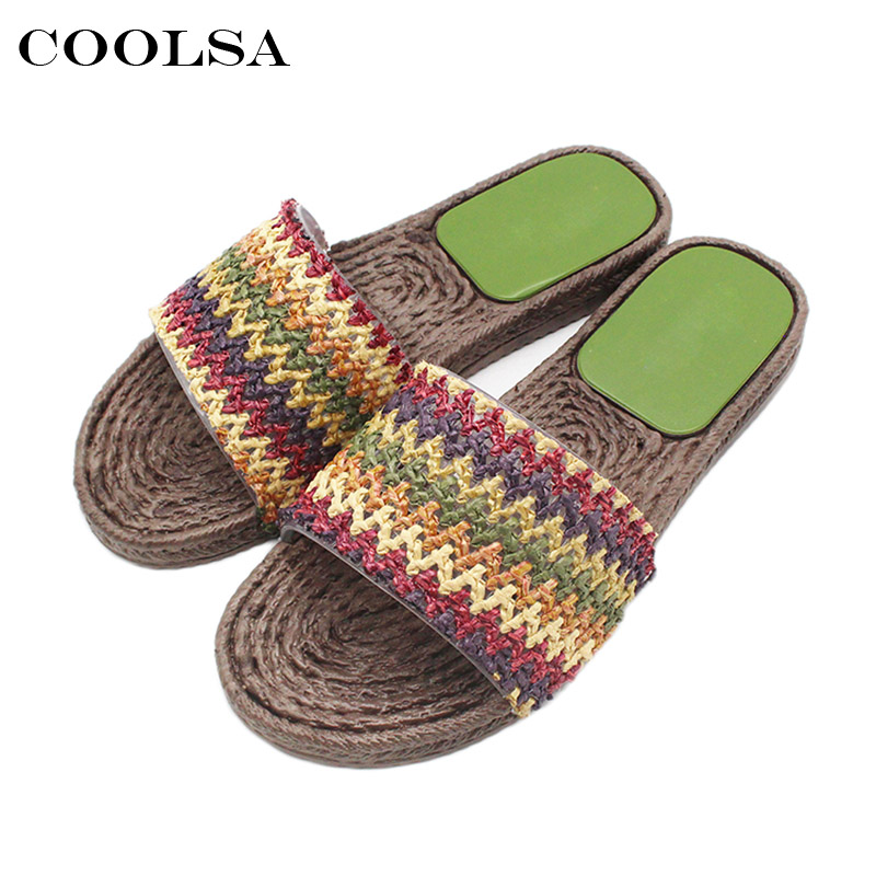 Coolsa New Summer Women Retro Slippers Weave Stripe Sandals Flat Non Slip Bathroom Slides Indoor Flip Flop Casual Beach Slippers suihyung design new women and men summer flat shoes hit color breathable hollow beach slippers flips non slip unisex sandals