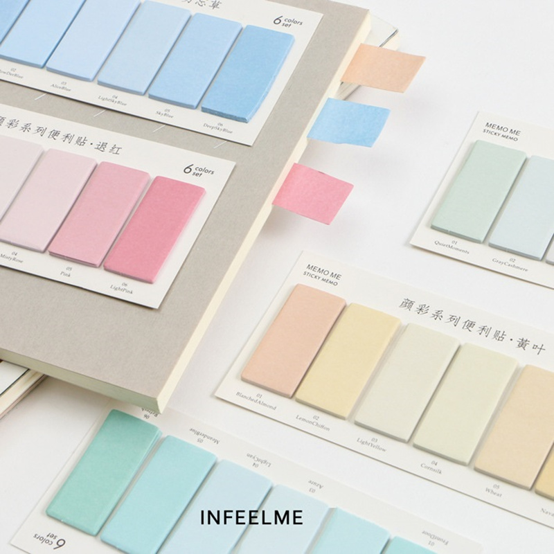 6pcs Water Color Sticky Memo Post Memo Pad Removable Adhesive Sticker Note Scrapbooking Stationery Office School Supplies A6914