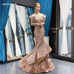 Image 1 - J66749 Jancember Mermaid Evening Dresses 2020 Off The Shoulder Short Sleeve Lace Wedding Guests Gowns