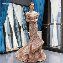 J66749 Jancember sirène robes de soirée 2020 hors de lépaule à manches courtes dentelle invités de mariage robes