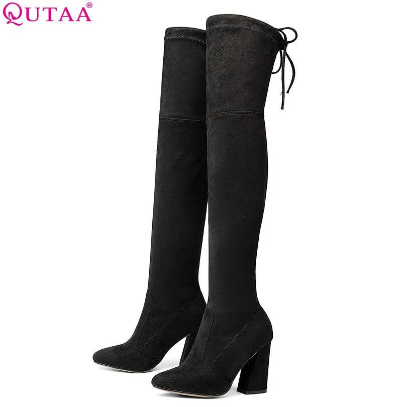 QUTAA 2018 nueva Flock mujeres de cuero sobre la rodilla botas Lace Up Sexy tacones mujeres zapatos Lace Up invierno caliente tamaño 34-43