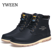 YWEEN New Mens Snow Boots Plush Warm Men Winter Shoes Big Size