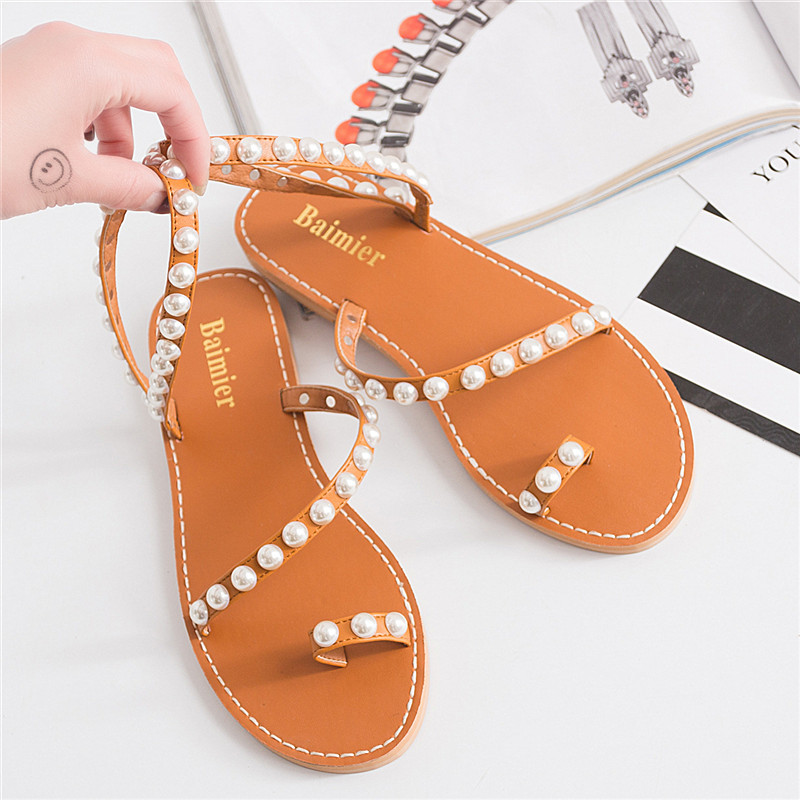Women's Sandals Slip on Faux Pearls Beading Ankle Strap Woman Sandals Flip Flops Womans Summer Flat Shoes Beach Gladiator 2017 hot fashion genuine soft leather flip flops women sandals front rear strap rhionestone slip on party wedding woman shoes