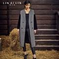 Женщины Шерстяное Пальто Шерстяное Длинный Отрезок Тонкий Ветровка GSJ014