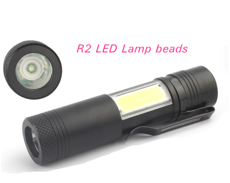 Homful Mini light rechargeable aluminum flashlight R2+COB light Outdoor multi-function LED four modes for 14500 or AA battery