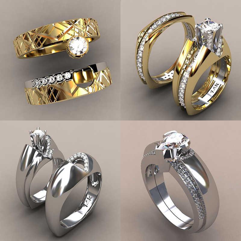 หญิงหรูหรา Zircon แหวนหินชุดที่ไม่ซ้ำกันสไตล์คริสตัล Silver Gold สีเจ้าสาวแหวนสัญญาหมั้นแหวน