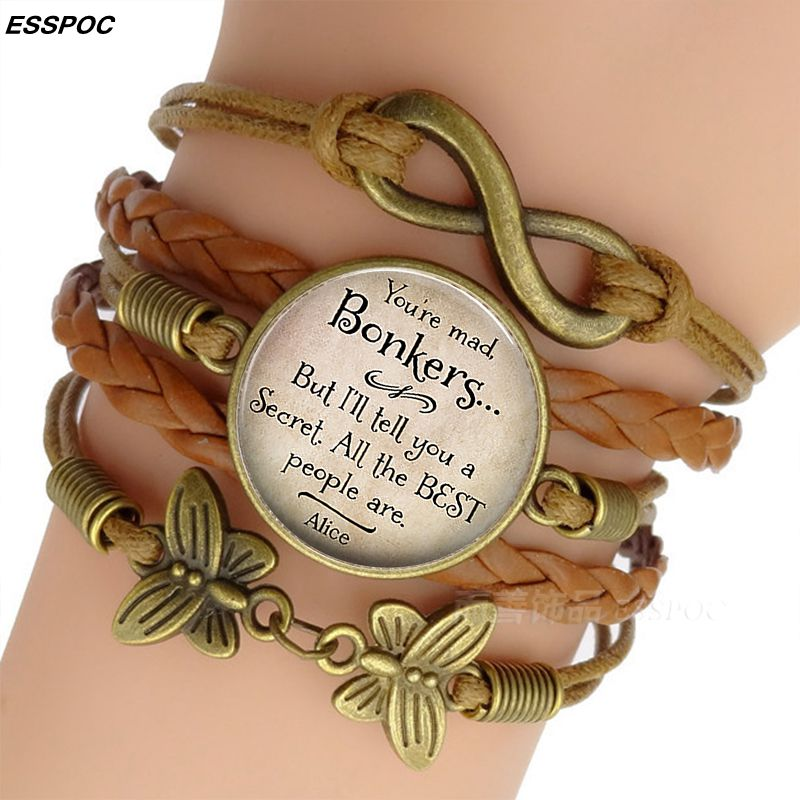 Women's Fashion Brown Leather Bracelets Alice In Wonderland Quote Print Glass Ca
