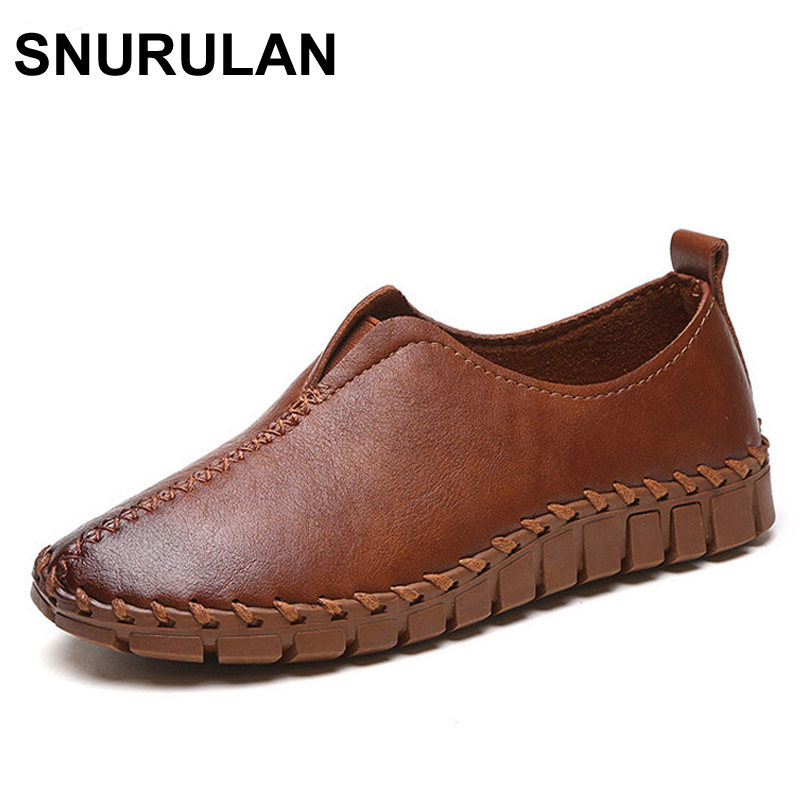 SNURULAN Platform Loafers Slip On Ballet Flats Pinted Toe Shoes Woman Comfortable Creepers Casual Women Flat Shoes qmn women genuine leather flats women horsehair loafers retro square toe slip on flat platform shoes woman creepers 34 42