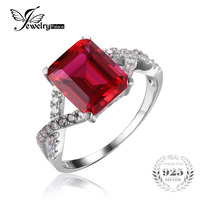 JewelryPalace Emeralds Cut 4 6ct Red Created Rubies Promise Ring Genuine 925 Sterling Silver Brand New