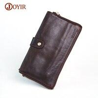 JOYIR Brand Designer Oil Wax Genuine Leather Men Wallets Big Capacity Card Holder Long Male Wallet Clutch Men Coin Purse