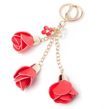 Leather Rose Cute Flower Tassel Keychain