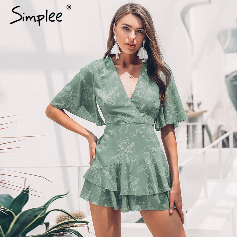 Simplee Sexy V-neck Women Cotton Playsuit Bohemian Print Short Sleeve Female Short Jumpsuit Romper Summer Beach Ruffled Overalls