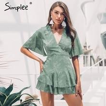 Simplee Sexy v neck women cotton playsuit Bohemian print short sleeve female short jumpsuit romper Summer beach ruffled overalls