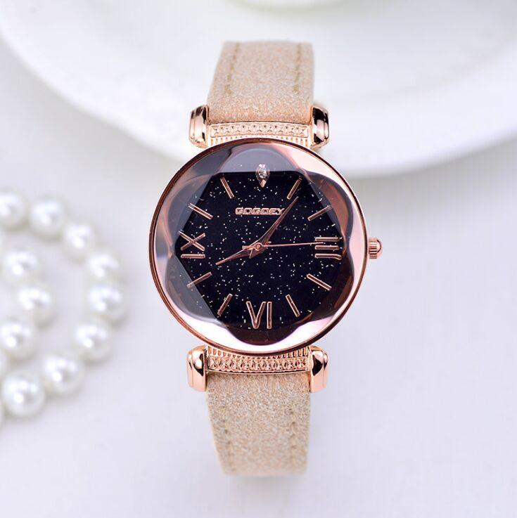 2019 nowych moda marka gogoey Starry Sky skórzane zegarki kobiety panie casual dress quartz zegarek reloj mujer go4417 2