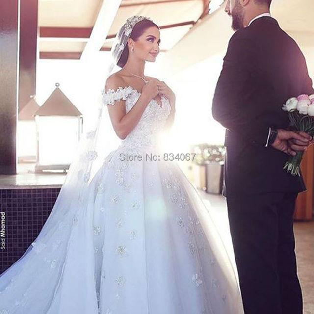 Elaborate Backless Wedding Dress 2017 Said Mhamad Off Shoulder Short Sleeves Flowers Bride Dresses Y V