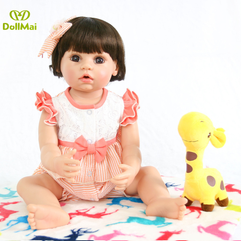 Reborn full vinyl silicone Baby Dolls Realistic Girl Princess 22 inch Baby Dolls Alive Toddler adorable doll For kids GifReborn full vinyl silicone Baby Dolls Realistic Girl Princess 22 inch Baby Dolls Alive Toddler adorable doll For kids Gif