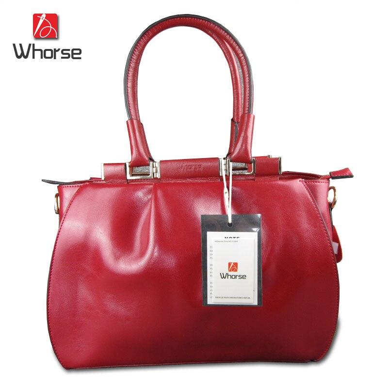 ФОТО [WHORSE] Brand Logo High Quality Brand Vintage Designer Genuine Cow Leather Women Handbag Shoulder Big Tote Messenger Bags Bag
