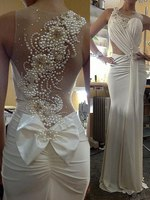 robe de mariage Ensotek Sheer Neck Beaded Pearls Back Sheath Wedding Gowns Elegant Bridal Gowns vestido de noiva Customized