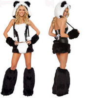 free pp New Duluxe Black White Wolf Polar Bear Cat Frisky Halloween Cosplay Costume Outfit Fancy Dress W/ Big Tail For Woman