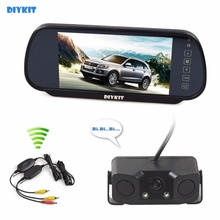 DIYKIT Wi-fi Parking System Waterproof Parking Radar Sensor Rear View Automotive Digicam With 7 inch Automotive Rear View Mirror Monitor