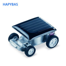 Funny smallest design solar energy car mini toy car intelligent car Solar Power Mini Toyr Educational Gadget Children Gift(China)