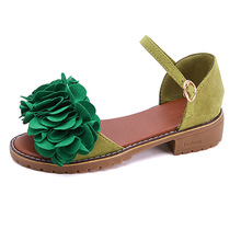 Spring summer Korean version of solid color student shoes wild flowers non-slip women's sandals casual flat with women's shoes