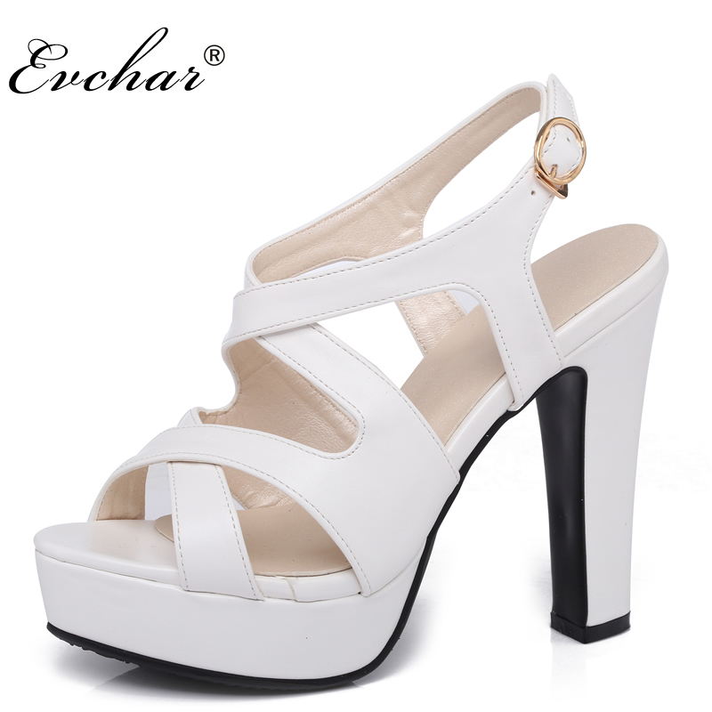 Women buckle Sandals  New Fashion sexy Summer  super High Heels Platform Woman Shoes Black Apricot pink White size 31-43 woman fashion high heels sandals women genuine leather buckle summer shoes brand new wedges casual platform sandal gold silver
