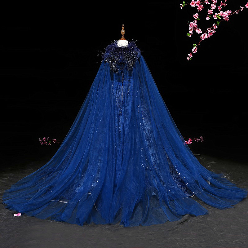 Luxury Princess Girl Evening Dress Shawl Robe De Soiree Beaded Beautiful Children Costume Great Gatsby Dress Floor Length Gown