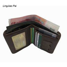 LingJiao Pai Men's Travel Mini Wallets Travel Cow Genuine Leather Slim Credit ID Card Holder Short Wallet