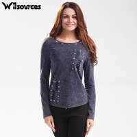 Witsources Women Sexy Hollow Out Backless T Shirts Long Sleeve Rivets Holes Decoration Casual Tops T
