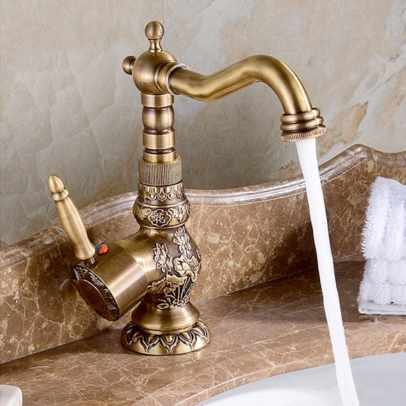 Deck Mounted Single Handle Bathroom Sink Mixer Faucet Antique bronze high quality popularHot and Cold Water