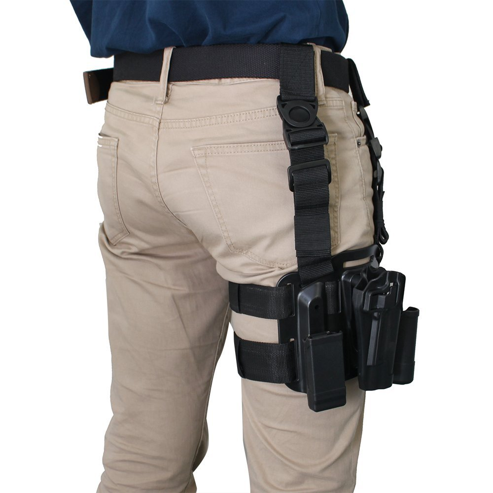 Black Tan Color Military Tactical Right Leg Thigh Holster W Magazine Pouch Glock 17 19 22 23 31 32 In Holsters From Sports Entertainment On