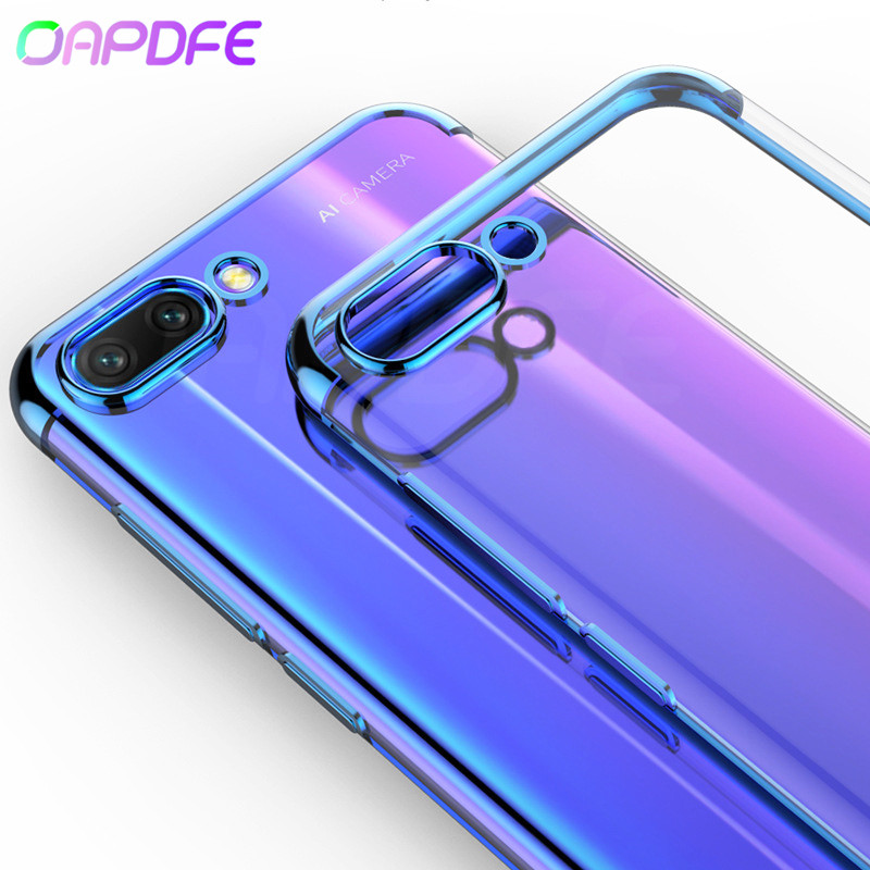 Plating Soft <font><b>Silicone</b></font> Transparent <font><b>Case</b></font> on the For Huawei P20 Pro P10 <font><b>Lite</b></font> Plus <font><b>Honor</b></font> 10 <font><b>9</b></font> <font><b>Lite</b></font> V10 V9 Play Phone Cover <font><b>Cases</b></font> Bag image