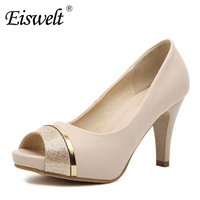 Eiswelt 2017 Sexy Summer Women Shoes Crystal Thick Heel Slingback Fish Mouth Platform Pump Mixed Colors