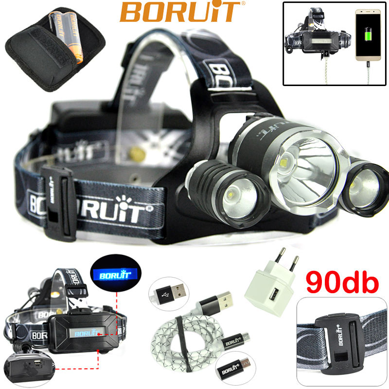 BORUiT B21 LED Headlamp Cree XM-L2+2xXPE Camping LED Head Lamp with 18650 Battery and Charger