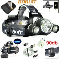 BORUiT B21 LED Headlamp Cree XM L2+2xXPE Camping LED Head Lamp with 18650 Battery and Charger