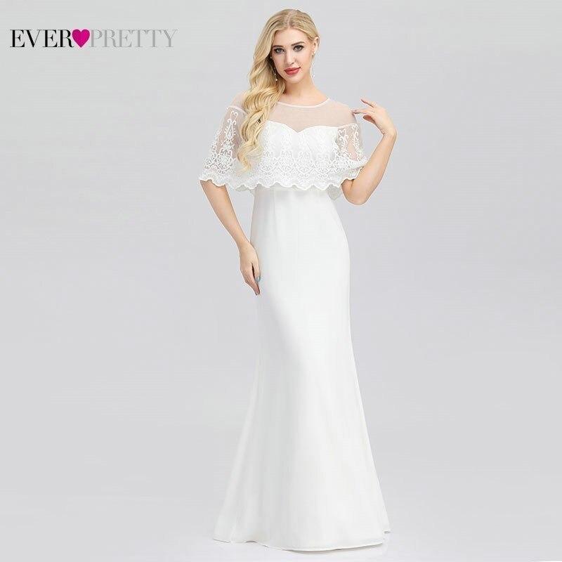Ever Pretty nouvelles robes De mariée en dentelle sirène o-cou fermeture à glissière Illusion pas cher robes De mariée élégantes EP00931WH Vestido De Noiva 2019