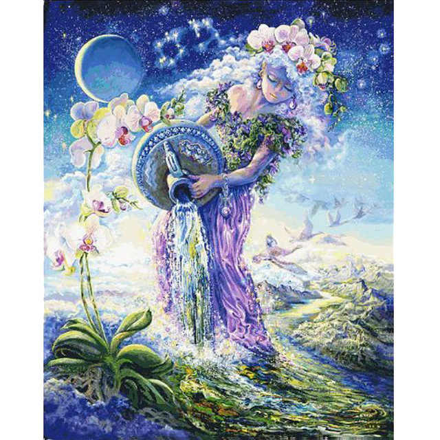 3D Diy diamond embroidery FULL painting cross stitch Angel girl mosaic pattern home decor Aquarius picture gift
