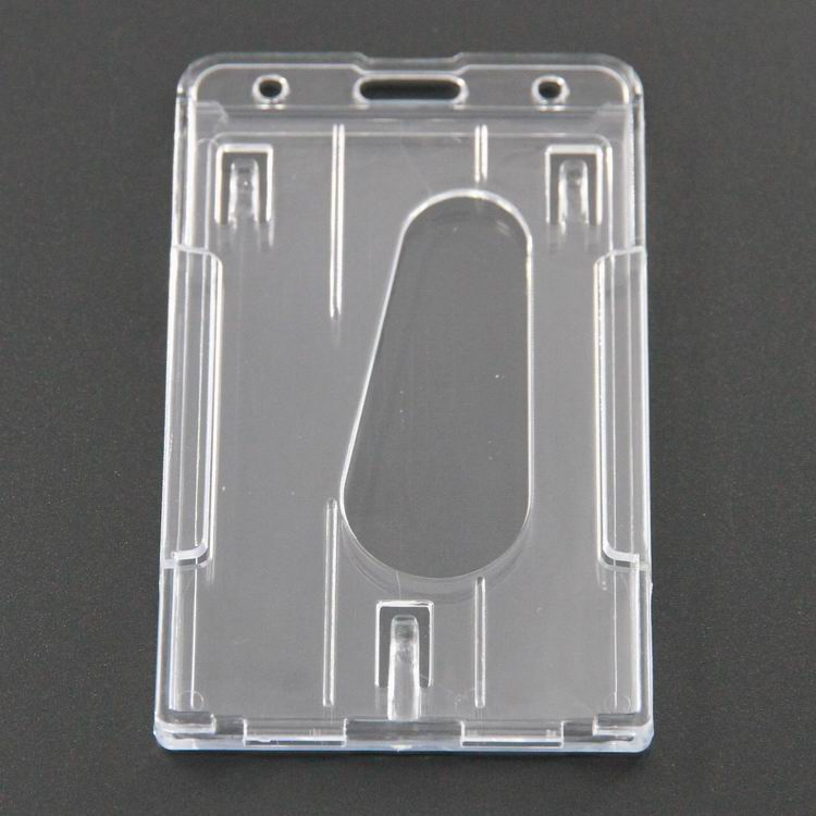 100pcs New Vertical Hard Transparent Plastic Badge Holder Double Card ID Bussiness Office School Stationery 10x6cm-in Card Holder & Note Holder from Office & School Supplies    1