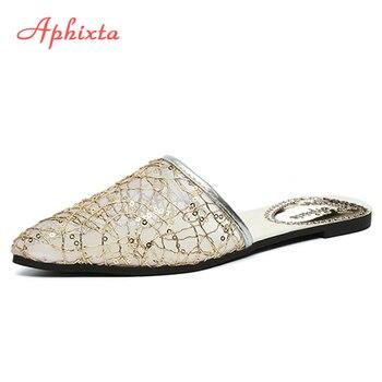 Aphixta полые сетки AIR женские туфли без задника острый носок Летняя обувь плоская подошва Черные тапочки женская обувь Шлёпанцы открытый Zapatos ...