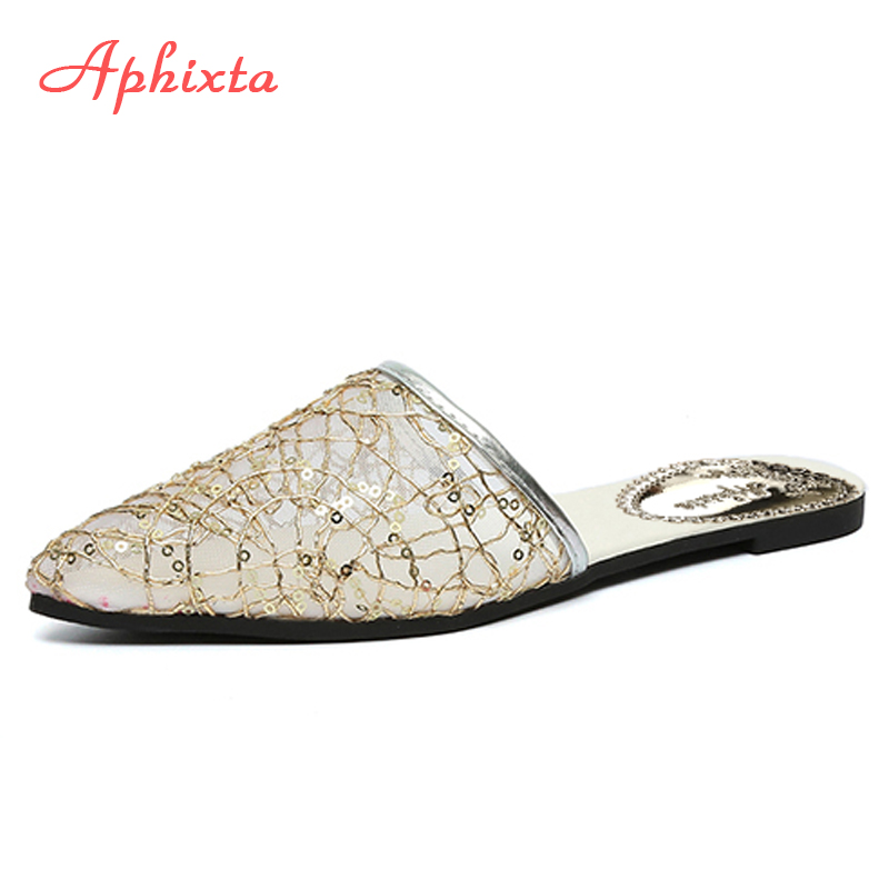 Aphixta Hollow Mesh Air Women Slides Pointed Toe Summer Shoes Flat Heel Black Slipper Women Shoes Mules Outdoor Zapatos Mujer 2018 new arrival women flats shoes shallow flat heel hollow out flower shape nude shoes pointed toe shoes zapatos mujer