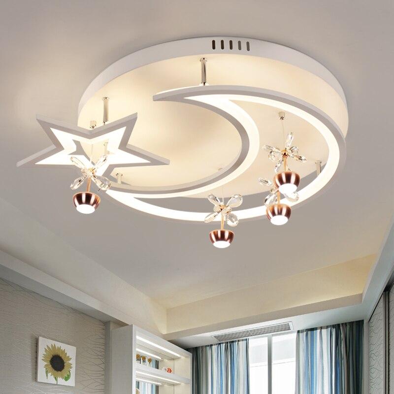 2017 луна и звезды современный светодиодный Потолочные светильники дети Спальня AC85 ~ 260 В Luces де techo para dormitorio de ninos envio gratuito