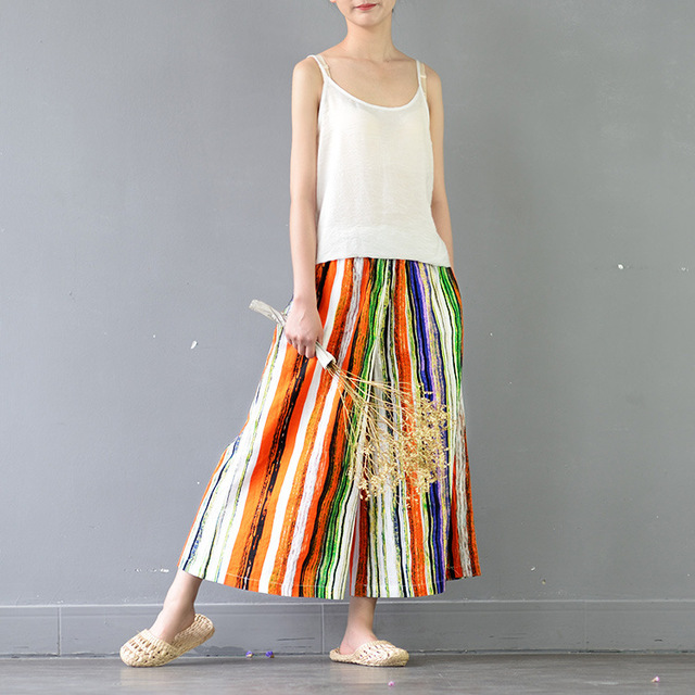 aliexpress : buy novelty loose flare rainbow colors stripe