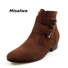 Misalwa Mens Black Classic Chelsea Natural Suede Leather Boots Male Brown Heel Riding Buckle Fashion Stylish Camel Ankle