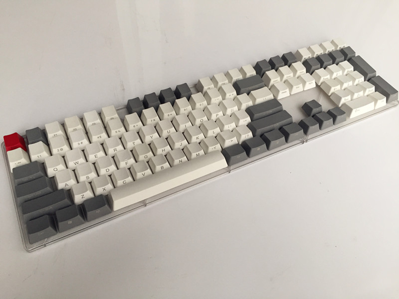 Side Print Blank 108 layout Thick PBT White Grey Keycap For OEM Cherry MX Switches Mechanical