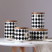 Household Ceramics Sealed Cans Creative Grain Storage Tank Kitchen Storage Box Jar Coffee Can Wood Cover Tea Bottle Storage Jars