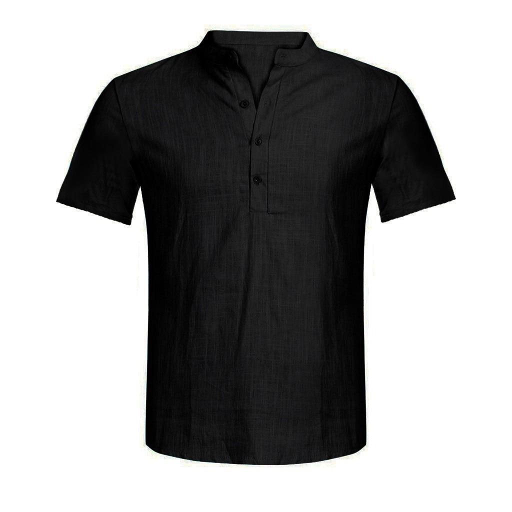 Men's Casual Blouse Cotton Linen shirt Loose Tops Short Sleeve Tee Shirt S-2XL Spring Autumn Summer Casual Handsome Men Shirt 7
