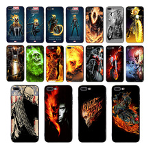 IMIDO Soft black silicone phone case for iphone X XS XR XSmax 6 6s 7 8 plus  5 5s SE marvel Ghost Rider design TPU cover shell