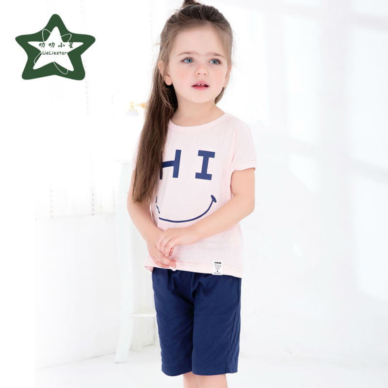 Baby Girl T Shirts Set  Cotton Teens Summer Top And Pants Short Sleeve T-shirt Kids Clothes Children Clothing Sets 2017 New brand fashion kids summer slim top mickey kid t shirt minnie mouse boys clothes shirts cotton short sleeve tee shirt